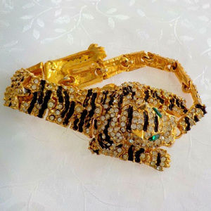 vintage gold rhinestone articulated cat bracelet